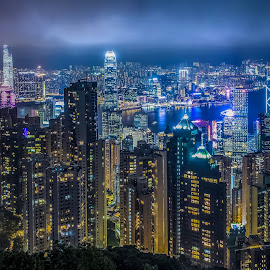 Hong Kong - Night by Peter Liakopoulos - City,  Street & Park  Skylines ( hong kong, skyline, night photography, harbour, cityscape, nightscape, city at night, street at night, park at night, nightlife, night life, nighttime in the city )