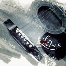 Heart Strings by Lawrence Ferreira - Digital Art Things ( music, abstract, heart, black and white, digital painting, guitars, love, abstract art, digital art, heart strings, musician, guitar, digital photography )
