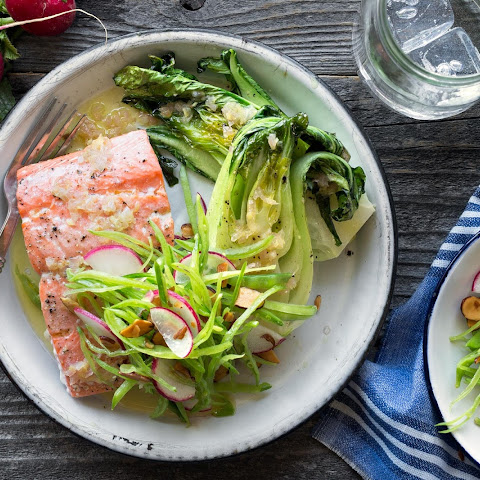Baked Salmon With Bok Choy And Snow Pea-radish Slaw