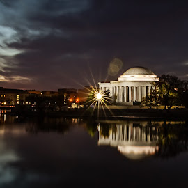 The Magic Hour by Mel Molder - City,  Street & Park  Skylines ( monuments, jefferson memorial, night, washington dc, tidal basin )