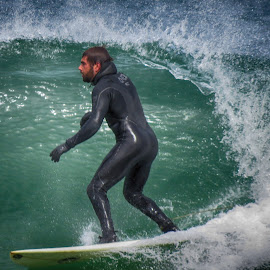 Cutting the Wave in Wellfleet by Marcia Geier - Sports & Fitness Surfing ( surfing, wellfleet,  )