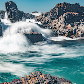 Flowing by Alan Rouse - Landscapes Beaches ( unusual formation, turquoise, slow exposure, waves, rocks )
