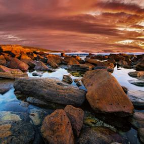 Into Red by Greg Tennant - Landscapes Sunsets & Sunrises ( sunset, rocks, coast )