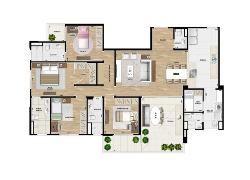 Planta da unid 53 - 162 m²