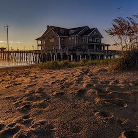Jennette's Pier by Jeremy Yoho - Landscapes Waterscapes ( water, sand, sunset, pier, sunrise, beach, light )