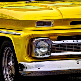 Up close N personal by Kristen O'Brian - Transportation Automobiles ( car, automobiles, old, truck, auto, yellow, chevy )