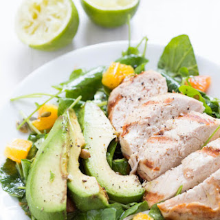 Grilled Tequila Chicken with Orange, Avocado and Pepita Salad