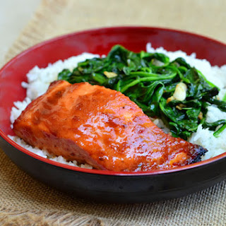 Sweet Chili Salmon with Garlic Spinach