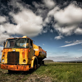 Old Yellow  by Þorsteinn H. Ingibergsson - Transportation Automobiles ( iceland, nature, truck, structor, rusty, landscape, abandoned )