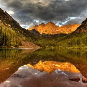 Maroon Bells by Tom Cuccio - Landscapes Mountains & Hills ( reflection, mountain, colorado, sunrise, morning, maroon bells, landscape, aspen )