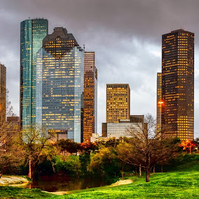 Houston Skyline after a storm by Dee Zunker - City,  Street & Park  Skylines ( buffalo bayou, allen parkway, skyline, houston, texas, usa, panorama, downtown )