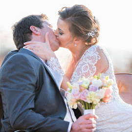Sealed with a kiss by Junita Stroh - Wedding Bride & Groom ( bouquet, kiss, wedding, wedding dress, bride and groom, flowers )