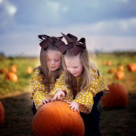 Pumpkin rolling by Beth Ann - Babies & Children Child Portraits ( farm, girls, fall, pumpkins, twins )