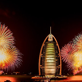New Years Eve 2013 by Jaideep Abraham - News & Events World Events ( dubai, uae, burj al arab, fireworks, beach )
