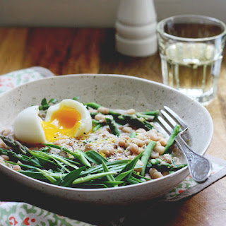 Asparagus Beanotto w/ Garlic Greens + the 7-minute Egg