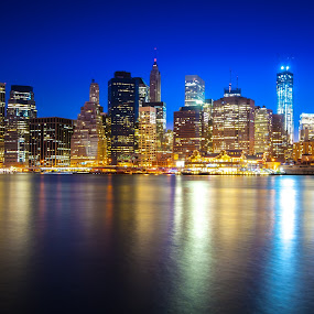 New York City Skyline by Martin Hedlund - City,  Street & Park  Skylines ( manhattan new york city sky long exposure shore water ocean nightfall nikon d90 skyline )