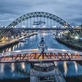 Newcastle @ Night by Adam Lang - City,  Street & Park  Night ( lights, tyne, gateshead, night, newcastle )
