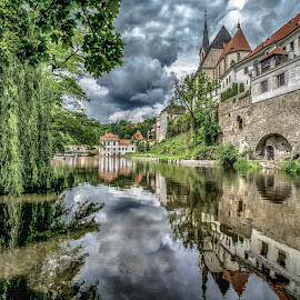 Cesky River by Adam Lang - City,  Street & Park  City Parks ( cesky, church, czech, trees, reflections, river )