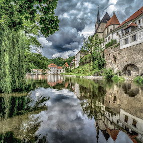 Cesky River by Adam Lang - City,  Street & Park  City Parks ( cesky, church, czech, trees, reflections, river,  )