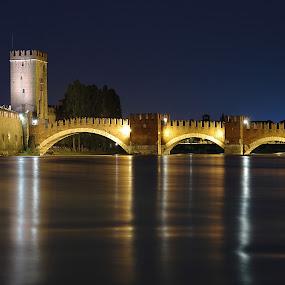 A Castle's Bridge by Giancarlo Ferraro - Buildings & Architecture Bridges & Suspended Structures ( old, night, castle, bridge )
