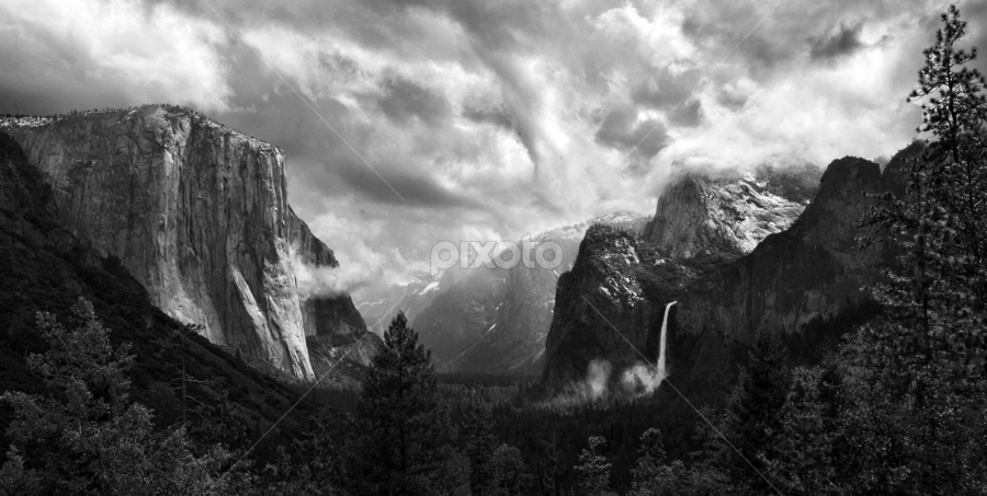 After the Spring Rain (Monotone) by Clyde Smith - Landscapes Travel ( tinnel view, bridalveil falls, yosemite, el capitan, black & white, pwcbwlandscapes, black and white, b and w, landscape, b&w, monotone, mono-tone )