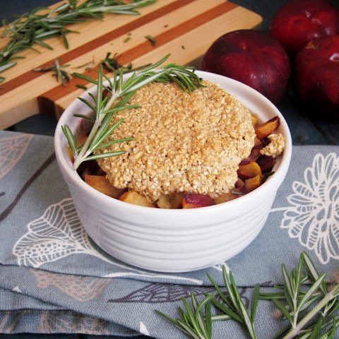 Plum Pineapple Rosemary Breakfast Cobbler