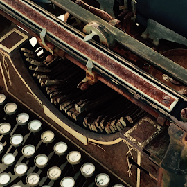 Rusty typewriter by Mary McGrath - Artistic Objects Antiques ( abstract art, typewriter, writing, rusty, antiques,  )