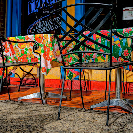Colorful Cafe by Barbara Brock - Artistic Objects Furniture ( outside dining, outside cafe, color, cafe, restaurant )