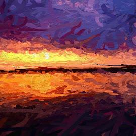 digital sunset by Rebecca Popelars Turner - Digital Art Places ( orange, sky, purple, sunset, glazeapp, digital art, digital art sunset )