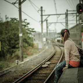 Waiting by Ryusuke Komori - People Street & Candids ( japan, station, woman, wakayama, rail, train, people )
