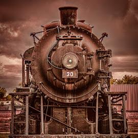 Train Locomotive by Shari Brase-Smith - Transportation Trains ( grunge, locomotive, dramatic, train, brown, close up, rustic )