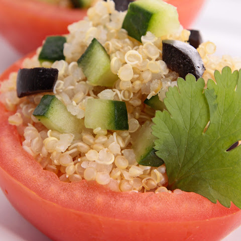 Nutritious Snack Quinoa, Cucumber and Stuffed Tomatoes