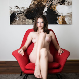 Red Chair by Carl0s Dennis - Nudes & Boudoir Artistic Nude ( chair, model, nude, red, hiome, female, painting,  )