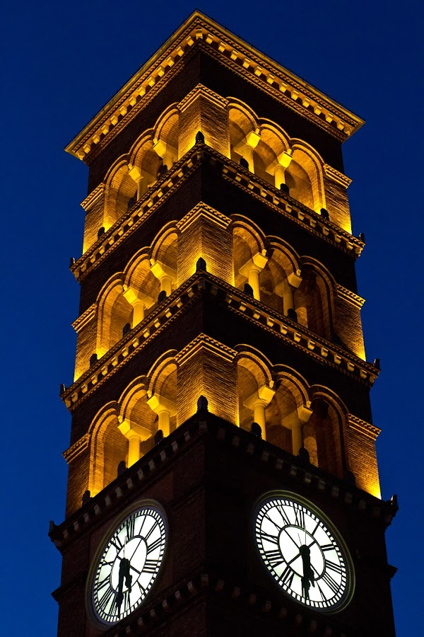 by Kenneth Glazebrook - Buildings & Architecture Other Exteriors ( pasadena, tower, church, clock, california, evening )
