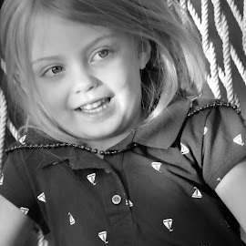 Sam by Judy Laliberte - Novices Only Portraits & People ( little girl, patterns, rope, b& w, light )