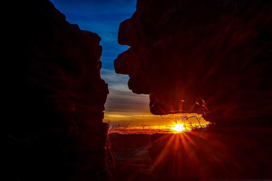 Through the Rock by Kevin Frick - Landscapes Sunsets & Sunrises ( west virginia, sunset, rock, star burst )