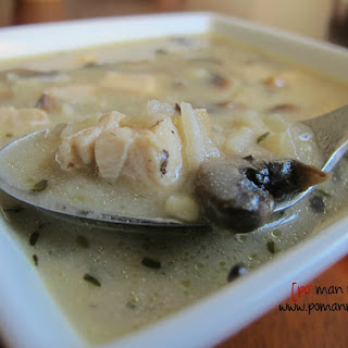 Creamy Mushroom, Chicken And Rice Soup