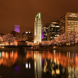 Omaha at Night by Mitch Tranmer - City,  Street & Park  Night ( omaha, color, christmas, night, nebraska, city )