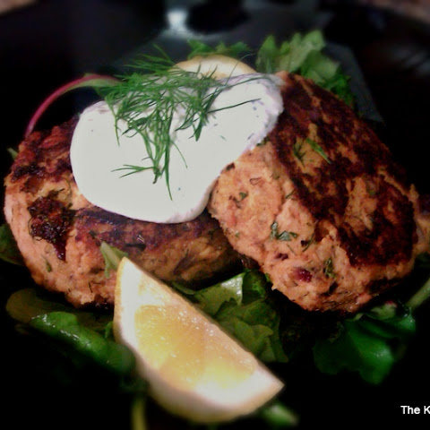 Fresh Salmon Patties with Dill Sauce