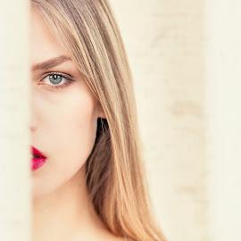 Hide&Seek by Gregor Grega - People Portraits of Women ( blonde, model, girl, hide&seek, outdoor, red lips, blue eyes, beauty, cute )