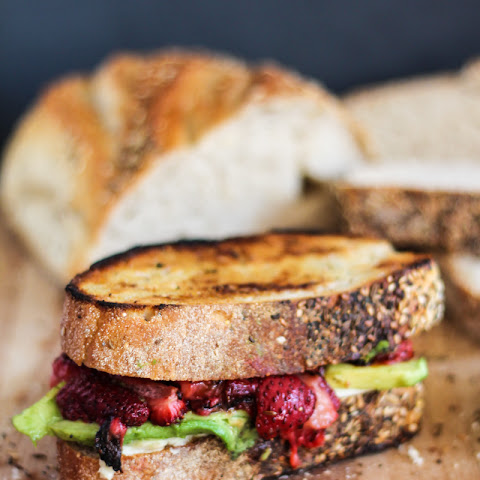 Roasted Strawberry, Avocado and Mozzarella Grilled Cheese