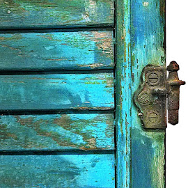 Teal 01 by Kevin Lucas - Buildings & Architecture Architectural Detail ( shutter, hinge, teal, rusty, antique, chipped paint )