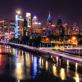 Philly at Night by Carol Ward - City,  Street & Park  Skylines ( skyline, night photography, philly, philadelphia, nightscape, city )
