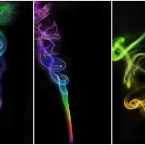 Triptych Smoke by Sam Reed - Abstract Fine Art
