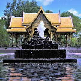 Tranquility by Ray Gradel - City,  Street & Park  City Parks ( tranquil, pagoda, fountain, reflections, meditation,  )