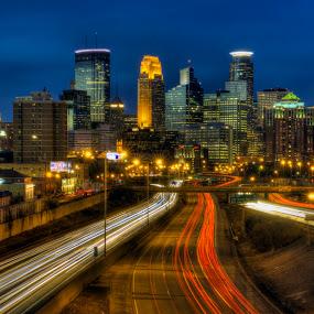 City of Minneapolis by Peter Stratmoen - City,  Street & Park  Skylines ( minnesota, night photography, minneapolis, nikon, nightscape,  )