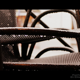 Chairs Covered In Raindrops by Ernie Kasper - Artistic Objects Furniture ( up close, chairs, metal, upclose, raindrops, wet, furniture, outside, rain, droplets )