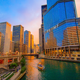 Trumped by Amber Anderson - Buildings & Architecture Office Buildings & Hotels ( sunset, chicago, river, trump )