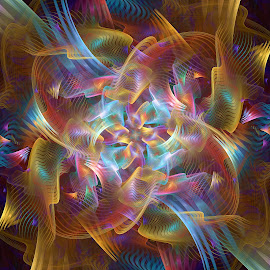 The Light Within by Peggi Wolfe - Illustration Abstract & Patterns ( abstract, wolfepaw, iridescent, color, bright, fun, fractal, digital )