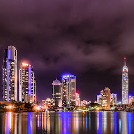 Surfers Paradise by Alex Stecina - City,  Street & Park  Skylines ( water, lights, skyline, pano, buildings, reflections, night, cityscape, panorama, nightscape )